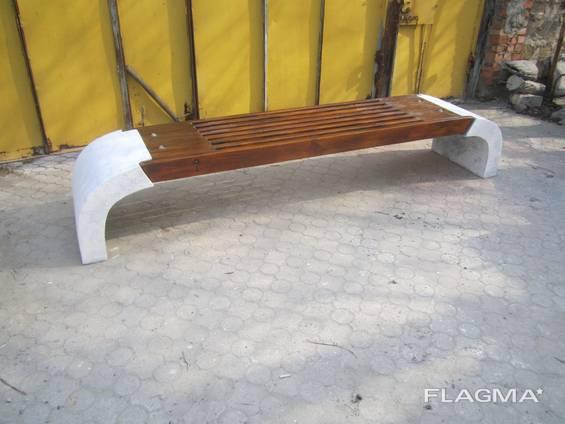 "Лавочка ""Шарлота"", вулична, бетонна. розмір:L2300*b450*h530"
