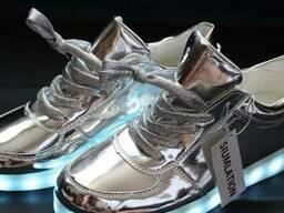 Led кроссовки серебро