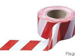Лента сигнальна 75мм*100м (червоно-біла)