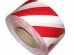 Лента сигнальная красно-белая шириной 75мм в бобинах 100-500