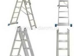 Лестница стремянка алюминиевая универсальная трехсекционная