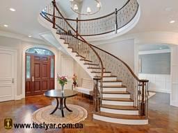 Лестницы. Ступени. Облицовка бетона и металлокаркаса деревом