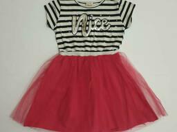Летнее платье в полоску с фатиновой юбкой для девочки 134