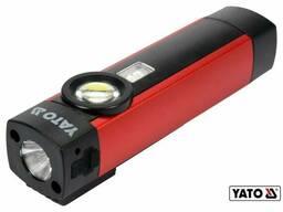 Ліхтар світлодіодний акумуляторний YATO Li-Ion 3.7 В 2 Агод 5 Вт 3 режими: УФ/200/300 лм