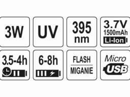 Ліхтар ультрафіолетовий з окулярами для перевірки банкнот YATO Li-Ion 3.7 В 1.5 Агод 3 Вт