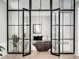 Лофт перегородки с распашными дверями StoneGlass