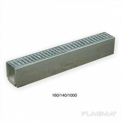 Водоотвод бетонный DN100 H160 класс В125 оцинкованная решетка