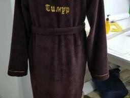 Махровый халат с вышивкой, именной, ворот шаль