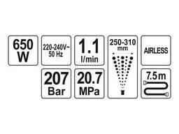 Малярна станція гідродинамічна мережева YATO 650 Вт 1.1 л/хв
