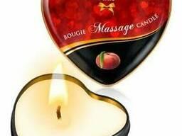 Масажна свічка ароматична сердечко Plaisirs Secrets (35 мл), Персик