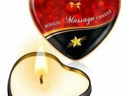 Масажна свічка ароматична сердечко Plaisirs Secrets (35 мл), Ваніль