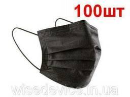Маска медицинская защитная Біталюкс М сертифицированная трехслойная Черная 100 шт. ..