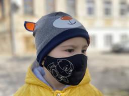 Маска многоразовая защитная «Крепыш» черная детская 3-6 лет