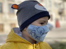 Маска защитная «Крепыш» голубая детская 3-6 лет