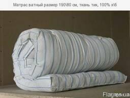 Матрас ватный размер 190\80 см, ткань тик, 100% х\б