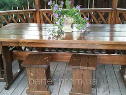 Мебель деревянная для беседки Стол 1800*800 4 банкетки 33