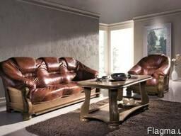 Meble-pyka Кожаный диван в дубовом каркасе из Польши новые.