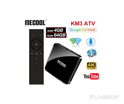 Mecool KM3 4/64Gb AndroidTV Box ТВ приставка Mi box s KM1