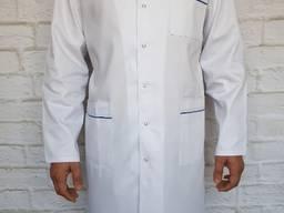 Медицинский халат мужской. Цвет белый. Ткань коттон.