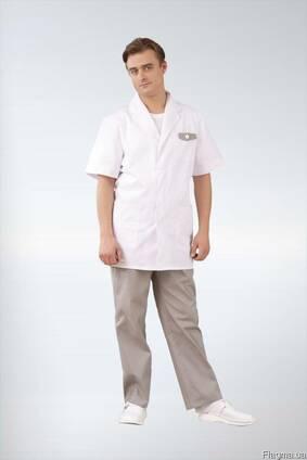 Медицинский костюм 6(белый с бежевым). мужской. пошив.