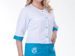 Медицинский костюм бело-синий