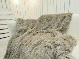 Меховой плед покрывало Травка Полуторный 160х200 серо-бежевый SKL53-239947