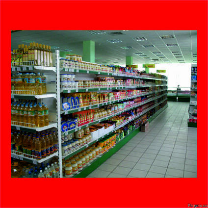 Металлические стеллажи для продуктовых магазинов