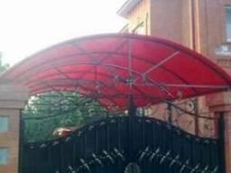 Навес с полиарбоната,кованые ворота