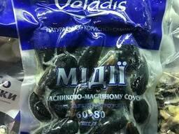 Мидия в ракушке варено-мороженая в чесночном соусе 453 гр.