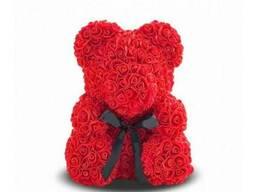 Мишка из роз Красный с лентой UTM 25 см