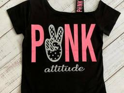 Модная укороченная подростковая футболка с открытым плечом для девочки 158