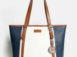 Модная женская сумка кожаная под планшет комби. ..