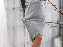 Модное Теплое платье на флисе (48-54), доставка по Украине