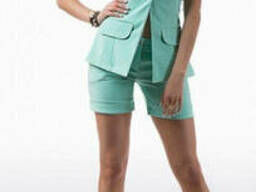 Модный женский костюм двойка жилет с шортами, 42-44. ..