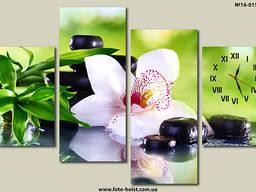 Модульная картина цветы, орхидея, полиптих, часы