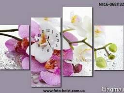 Модульная картина орхидея, цветы, часы в спальню