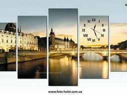 Модульная картина Париж, замок, с часами, без часов