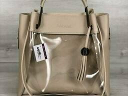 Молодежная сумка Welassie Рамона бежевого цвета c силиконом