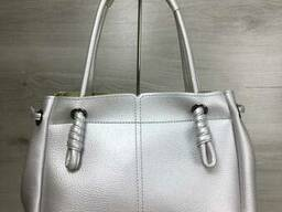 Молодежная женская сумка-шоппер Эвелин серебряного цвета