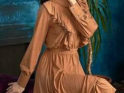 Молодежное замшевое платье миди (42, 44, 46р), доставка по. ..