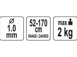 Мотузка стяжна для збереження інструментів YATO 1 мм x 52-170 мм 2 кг + 2 карабіни