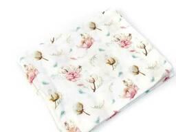 Муслінова пелюшка Бавовна з квітами пм282 90х80 см