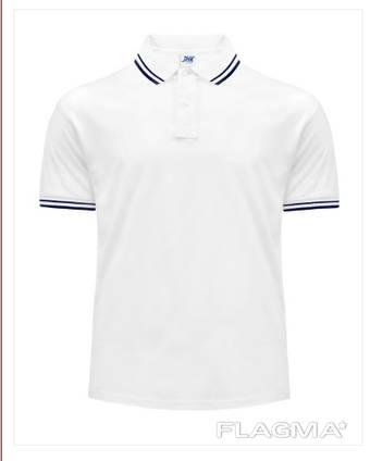 Мужская футболка поло сине-белая для промоакций официантов барменов логотипы