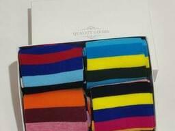 Мужские носки 4 пары в подарочной коробке цветные полоски...