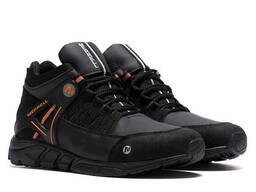 Мужские зимние кожаные ботинки Merrell Black Orang (реплика)