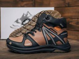 Мужские зимние кожаные ботинки Merrell SLAB Olive (реплика)