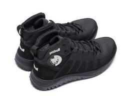 Мужские зимние кожаные ботинки Pitbull Black (реплика)