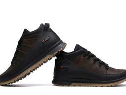 Мужские зимние кожаные кроссовки Fila Brown Classic (реплика)