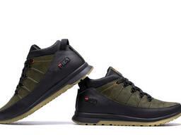 Мужские зимние кожаные кроссовки Fila Olive Classic (реплика)