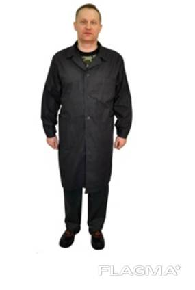 Мужской халат черный, ткань бязь